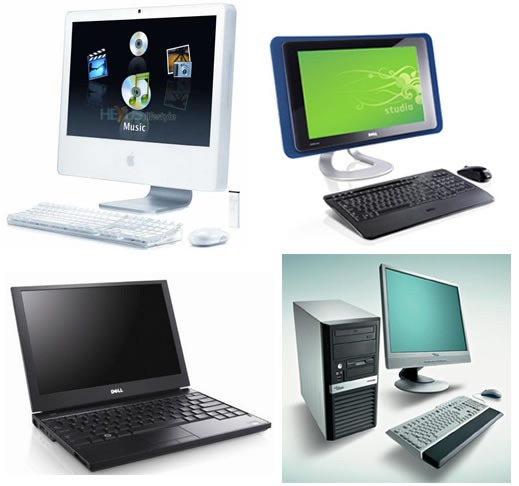 "Four computers from the 2000s - a laptop, a couple of all-in-one-desktops and a desktop with a ""box"" -- all with flat screens"