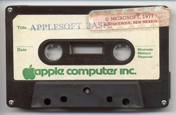 "An Applesoft BASIC cassette featuring a sticker that says ""Copyright Microsoft, 1977"""