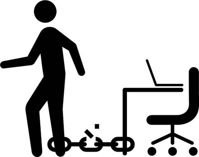 Stick figure, chained to desk, breaking the chain