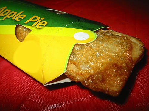 Jester Burger's apple pie: a tube of pastry, whose skin is pocked from deep-frying