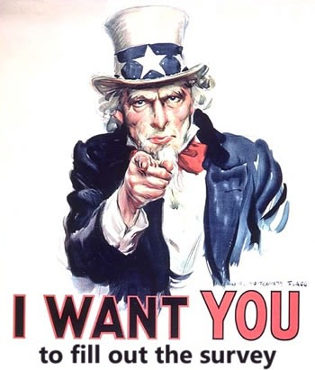 "Modified ""Uncle Sam"" poster: ""I want YOU...to fill out the survey"""