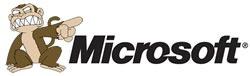 "Microsoft logo with Evil Monkey from ""Family Guy"""
