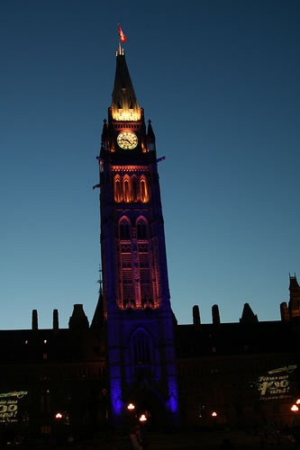 Photo of the Peace Tower at Night (taken by the Poissant Family)