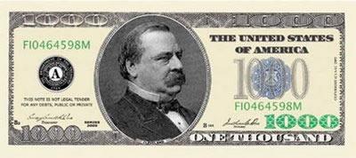 U.S. $1000 bill
