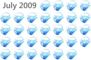 July 2009 calendar showing each date as a Silverlight logo