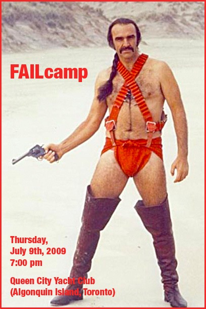 "FailCamp poster, featuring Sean Connery in his role as ""Zed"" from ""Zardoz"""