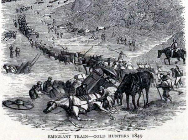 "Etching: ""Emigrant Train - Gold Hunters 1849"""