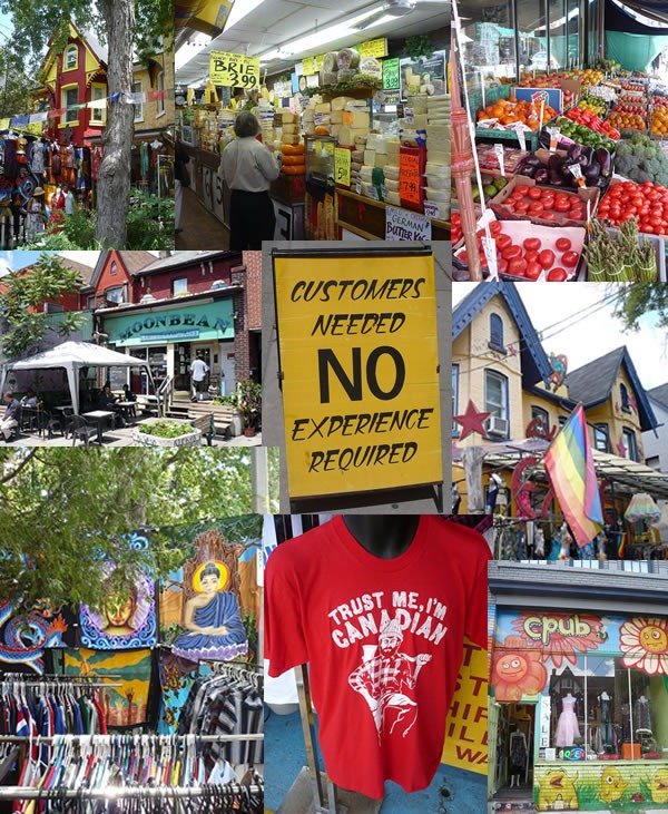 Montage of photos of Kensington Market