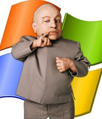 """Mini-me"" in front of a Windows logo"