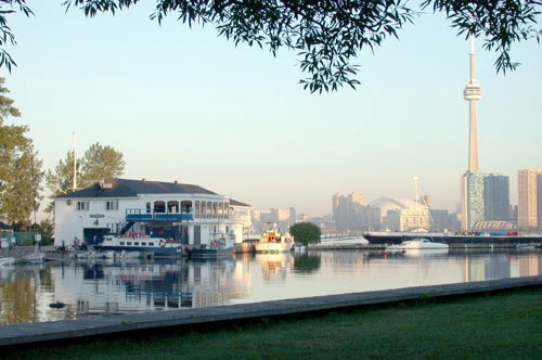 Queen City Yacht Club clubhouse, as seen from across the lagoon
