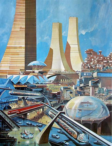 Retro-futuristic cityscape
