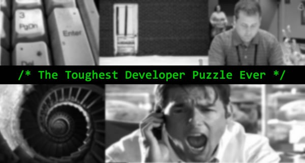 "Montage of images from the ""Toughest Developer Puzzle Ever"" site"
