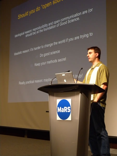 C. Titus Brown delivering his presentation at MaRS