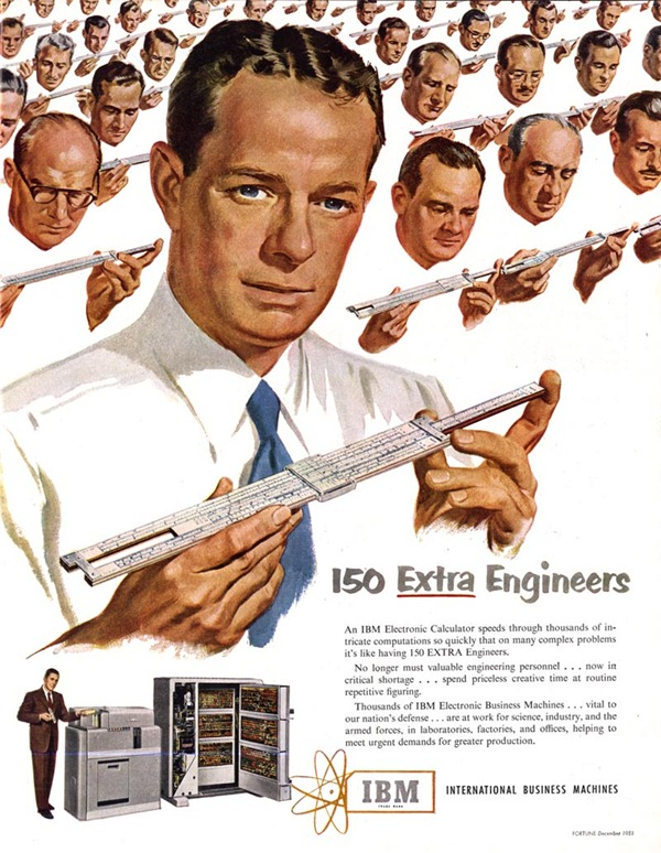 "IBM ""Electronic Calculator"" ad: ""150 Extra Engineers"""