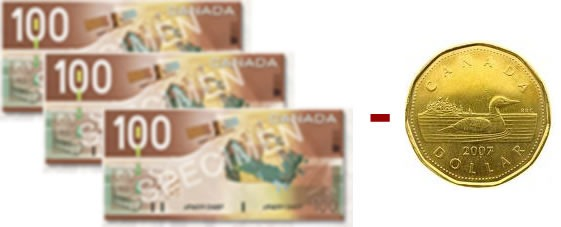 3 Canadian 100-dollar bills, minus one loonie