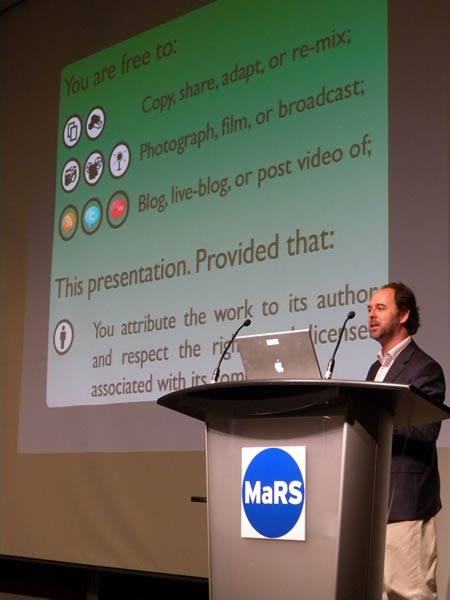 "Cameron Neylon and his ""Creative Commons"" slide at Science 2.0"