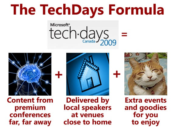 The TechDays Formula -- TechDays = Content from premium conferences far, far away + Delivered by local speakers at venues close to home + Extra events and goodies for you to enjoy