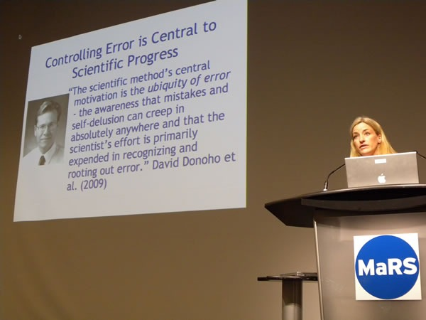 "Victoria Stodden at Science 2.0, with her ""Controlling error"" slide"