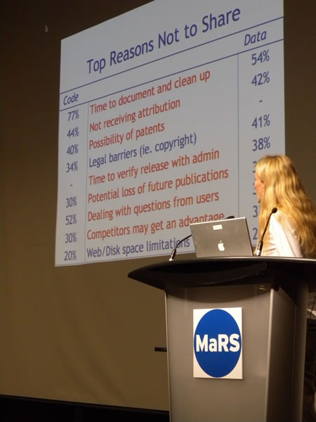 """Victoria Stodden at Science 2.0 and her """"Top reasons not to share"""" slide"""