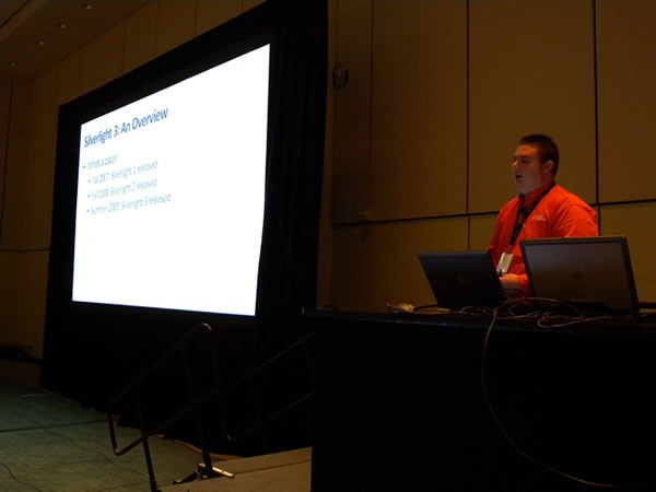 "Cory Fowler doing his ""What's New in Silverlight 3"" presentation"