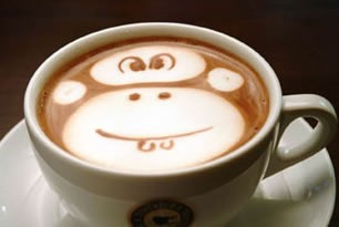 """Monkey"" latte art"