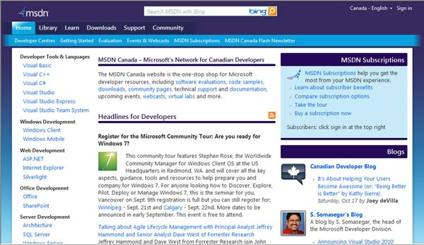 "Screenshot of the ""new look"" MSDN Canada"