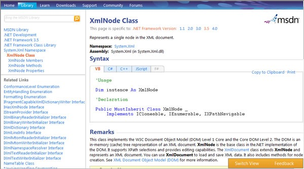 "Screen shot of the ""new look"" MSDN Library"
