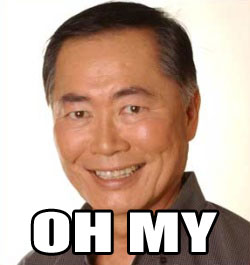 Photo of George 'Mr. Sulu' Takei, captioned with 'OH MY'.