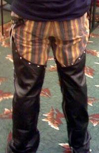 Joey deVilla wearing chaps at Toronto CodeCamp 2009