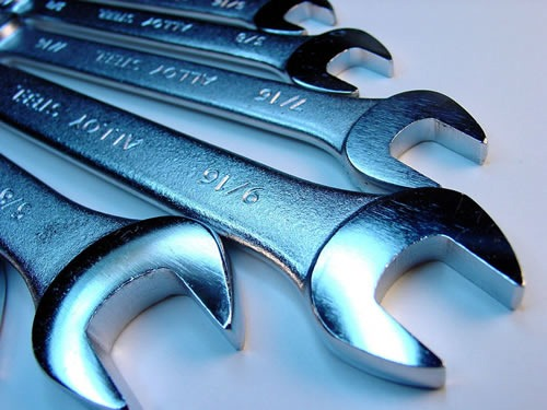 A set of wrenches in various sizes.