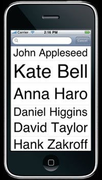 Screenshot of contact list from Lou Zoom app