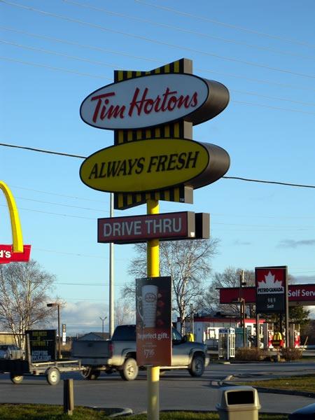 "Tim Hortons' ""Always Fresh"" ""Drive Thru"" signs"