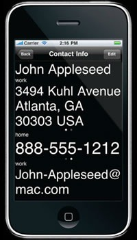 Screenshot of contact info page from Lou Zoom app