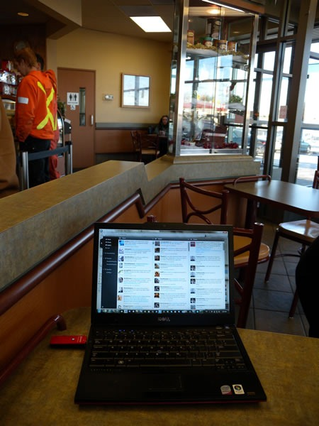 My laptop on a table at Tim Hortons