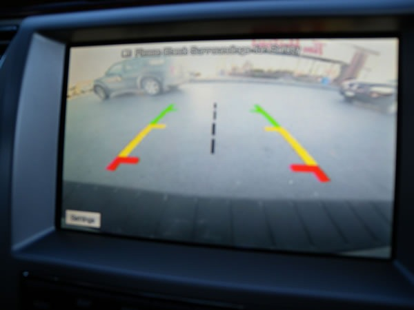 """Reverse"" camera view from the Ford Flex's Sync monitor"