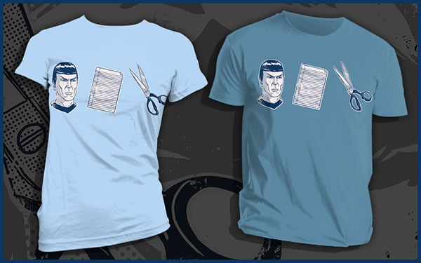 "Powder blue and slate versions of the ""Spock, Paper, Scissors"" T-shirt"