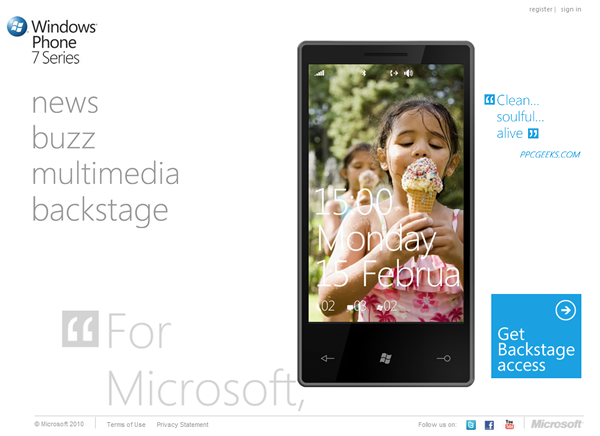 Screenshot of the Windows Phone 7 Series site's home page