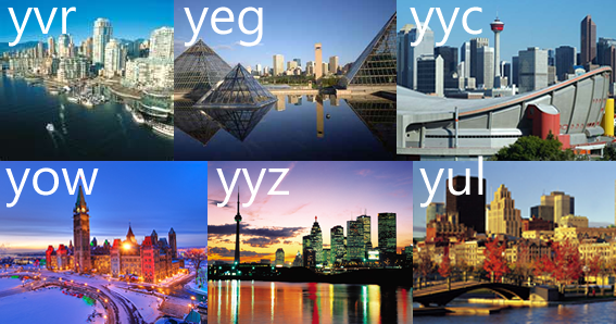 City skylines: Vancouver (YVR), Edmonton (YEG), Calgary (YYC), Ottawa (YOW), Toronto (YYZ), Montreal (YUL)