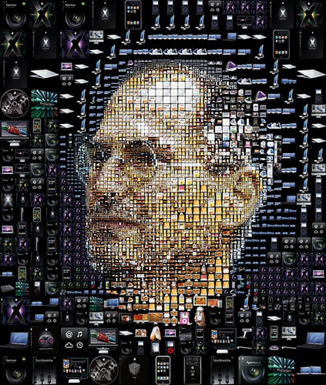 Mosaic of Apple products arranged to form picture of Steve Jobs