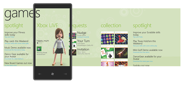 Games pages on Windows Phone 7