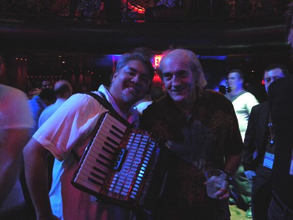 Joey deVilla and Bill Buxton posing on the dance floor at LAX nightclub in Las Vegas