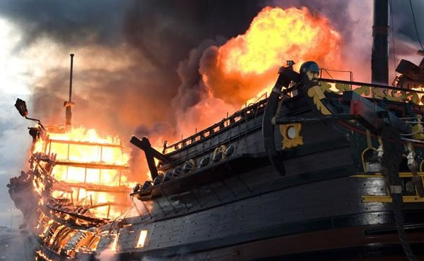 Replica Spanish galleon on fire