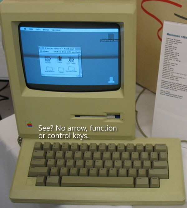 "Original 128K Macintosh. ""See? No arrow, function or control keys."""