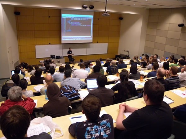 Colin Bowern presenting at Toronto Code Camp to a packed room