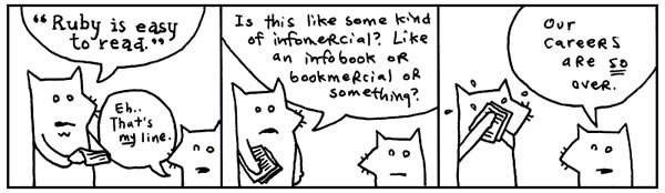 'Cartoon foxes' comic from why's (poignant) guide to Ruby