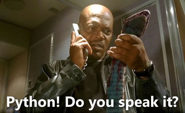 "Samuel L. Jackson from ""Snakes on a Plane"" talking on a phone and holding a snake: ""Python! Do you speak it?"""