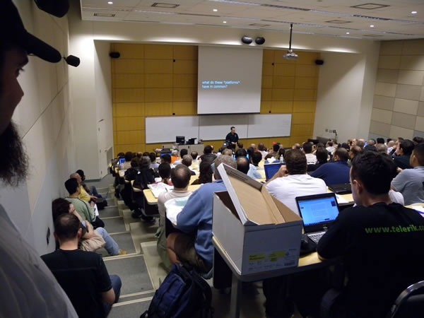 Todd Anglin presenting at Toronto Code Camp to a very packed room