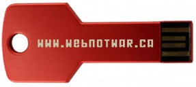 "Red key-shaped USB key with ""www.webnotwar.ca"" written on it"