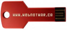 """Red key-shaped USB key with """"www.webnotwar.ca"""" written on it"""
