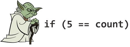 "Yoda: ""if (5 == count)"""